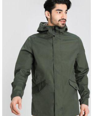 С кулиской куртка с капюшоном хаки с карманами на кнопках Ostin