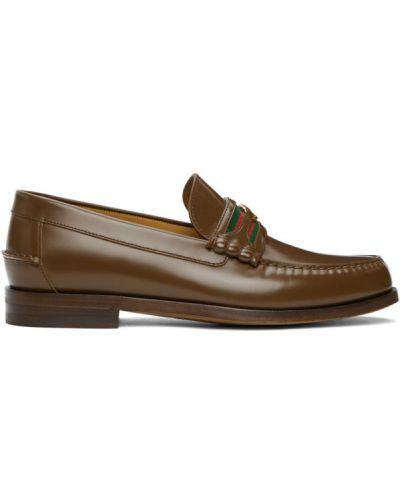 Brązowy skórzany loafers okrągły Gucci