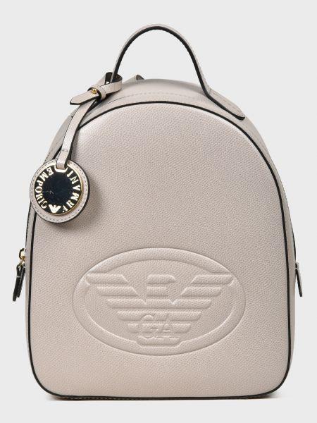 Бежевый кожаный рюкзак с карманами Emporio Armani