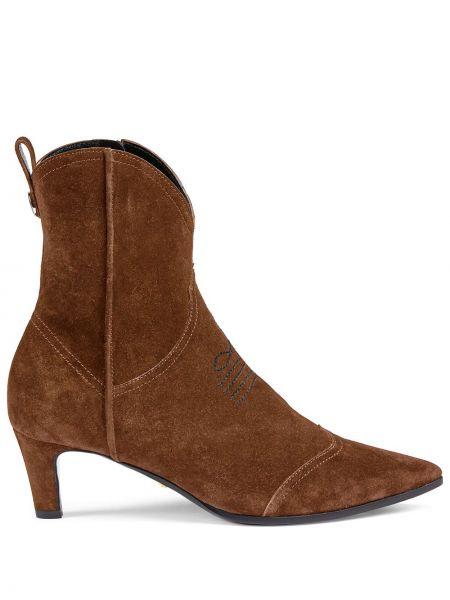 Brązowy zamsz buty na pięcie z ostrym nosem niskie obcasy Gucci