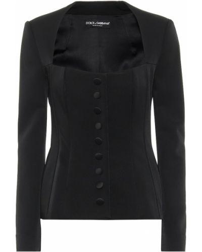 Сатиновая черная куртка Dolce & Gabbana