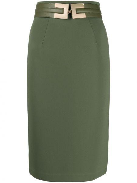 Зеленая с завышенной талией юбка карандаш с поясом из искусственной кожи Elisabetta Franchi