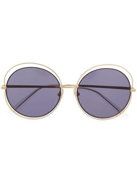 Желтые солнцезащитные очки круглые металлические Bolon