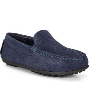 Школьные синие кожаные мокасины с подкладкой Ecco
