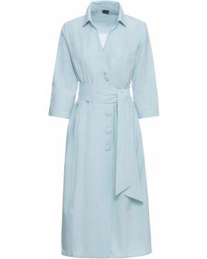 Синее платье на пуговицах с карманами Bonprix