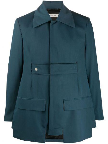 С рукавами синий шерстяной прямой пиджак Namacheko