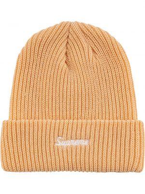 Beżowa czapka z akrylu Supreme