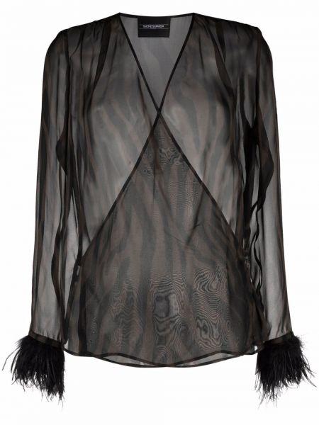 Коричневая блузка с вырезом Simonetta Ravizza