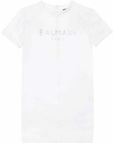 Biała sukienka bawełniana Balmain