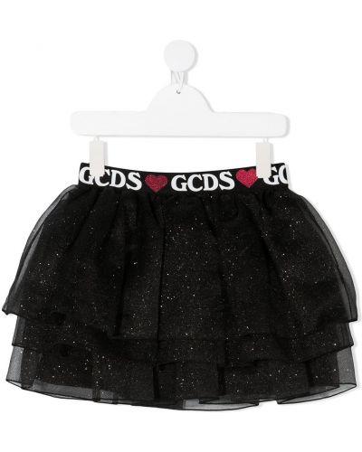 Черная юбка из вискозы с глиттером Gcds Kids