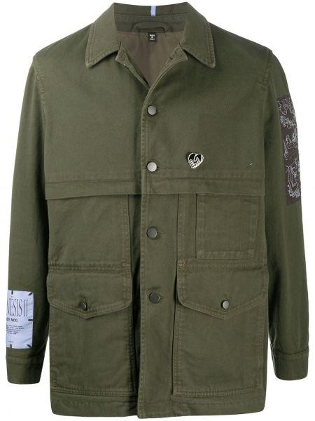 Klasyczna koszula bawełniana z długimi rękawami khaki Mcq Alexander Mcqueen