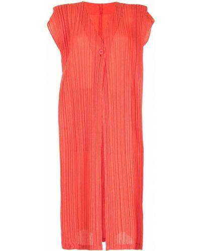 Оранжевая жилетка с V-образным вырезом на пуговицах Pleats Please Issey Miyake
