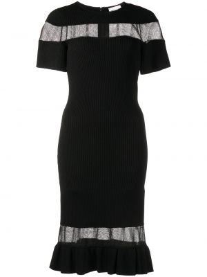 Czarna sukienka midi prążkowana Milly