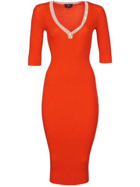 Платье из вискозы - оранжевое Elisabetta Franchi