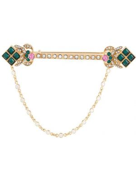 Брошь золотая с камнями металлическая Dolce & Gabbana