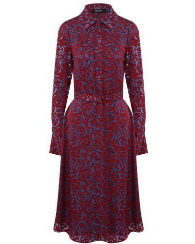 Платье с поясом из вискозы приталенное Poustovit