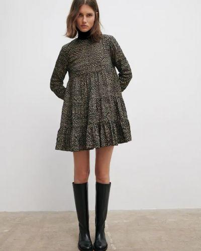 Платье с принтом - коричневое Zara