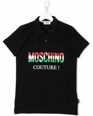 Рубашка черная в рубчик Moschino Kids