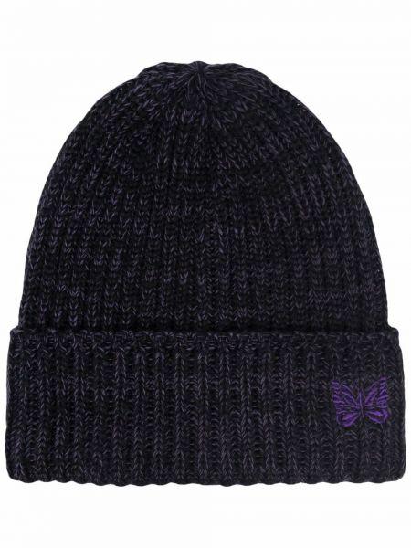 Czarna czapka prążkowana Needles