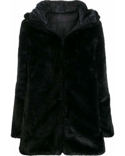 Черное длинное пальто из искусственного меха двустороннее Save The Duck