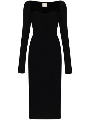 Длинное черное платье макси с длинными рукавами Khaite