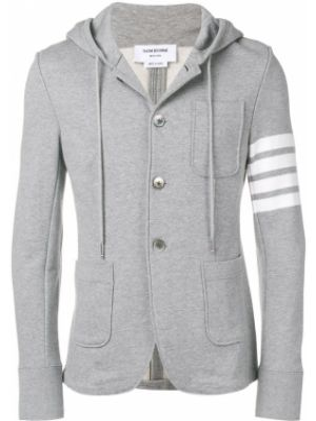 Хлопковый коричневый пиджак с капюшоном Thom Browne