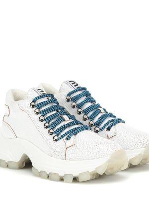 Кожаные кроссовки белый винтажные Miu Miu