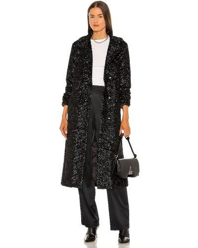 Черное длинное пальто из искусственного меха с карманами Unreal Fur
