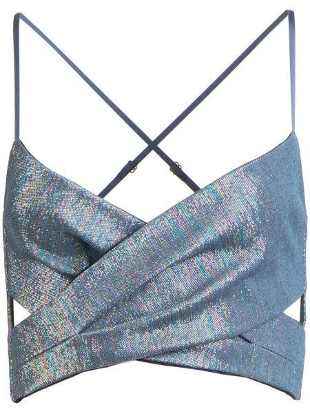 С ремешком ватный синий кроп-топ металлический Michelle Mason