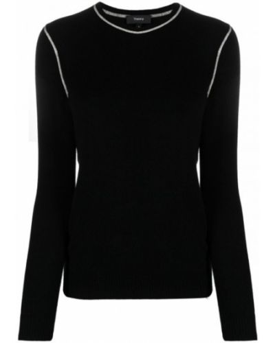 Czarny t-shirt z długimi rękawami Theory