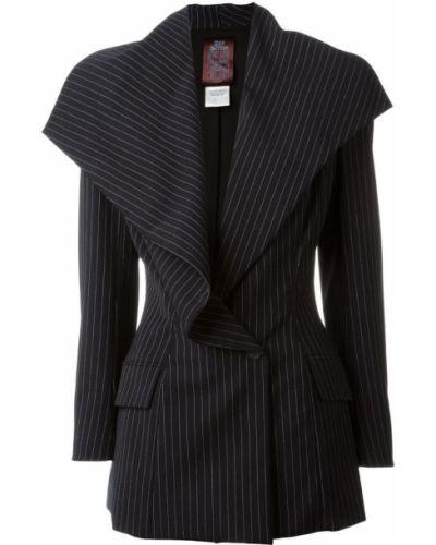 Прямой черный удлиненный пиджак на пуговицах John Galliano Pre-owned