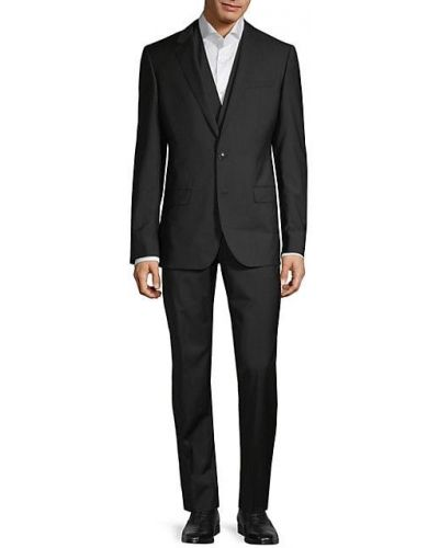 Шерстяной черный костюм-тройка без рукавов Boss Hugo Boss