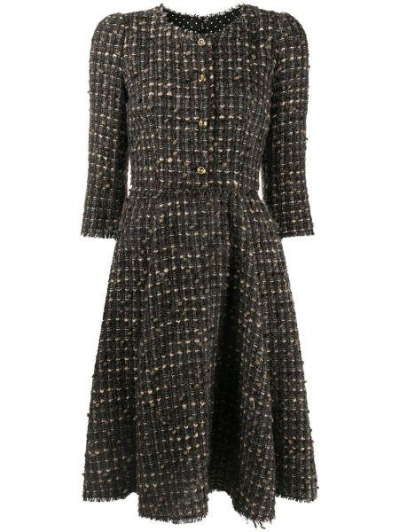 Коричневое шерстяное платье с вырезом Dolce & Gabbana