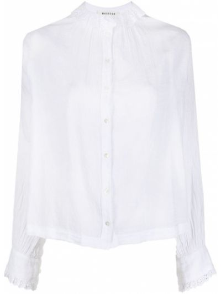 Белая блузка с воротником с вышивкой Masscob