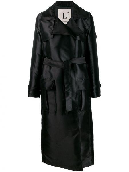 Черный длинное пальто с поясом L'autre Chose