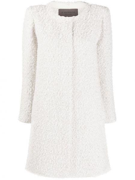 Белое длинное пальто из альпаки на пуговицах D.exterior