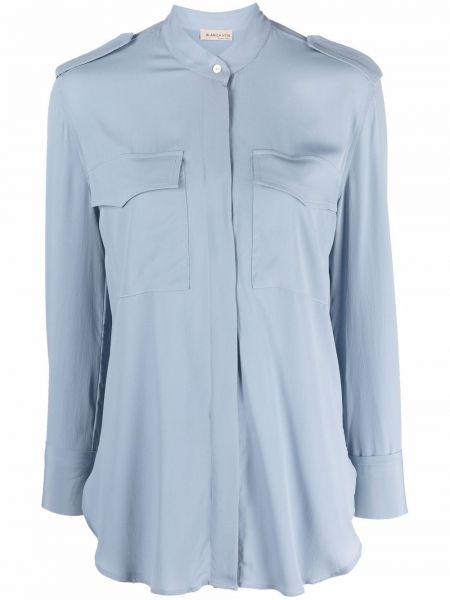 Niebieska koszula z jedwabiu Blanca Vita