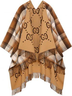 Ponczo wełniany - beżowy Gucci