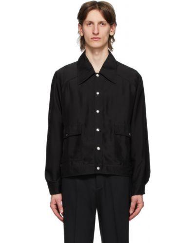 Сатиновая черная длинная куртка с манжетами с воротником Second/layer