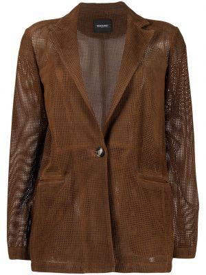 Однобортный коричневый кожаный удлиненный пиджак Simonetta Ravizza
