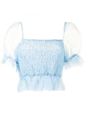 Синяя блузка с вырезом с короткими рукавами Staud