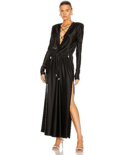 Czarna sukienka koronkowa z wiskozy Alexandre Vauthier