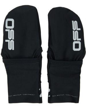 Rękawiczki z mankietami prążkowany Off-white