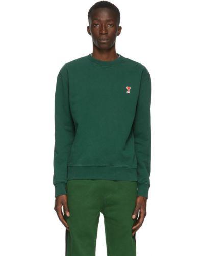 Zielony bluza z haftem z długimi rękawami z kołnierzem Ami Alexandre Mattiussi
