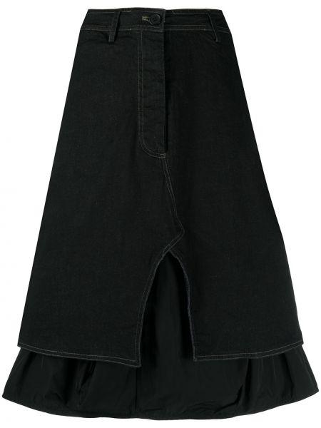 Джинсовая юбка миди - черная Rundholz