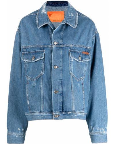Джинсовая куртка с надписью - синяя Golden Goose