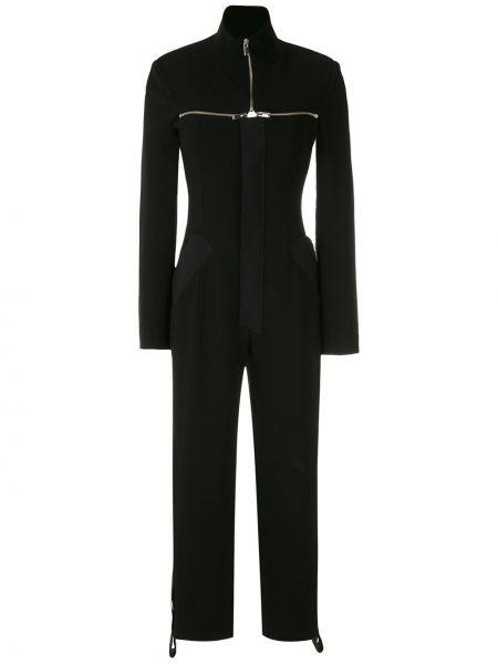 Прямой черный комбинезон с вырезом с карманами Gloria Coelho