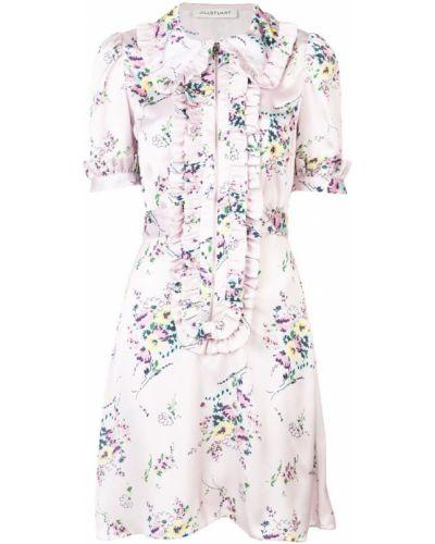 Приталенное расклешенное фиолетовое классическое платье мини Jill Stuart