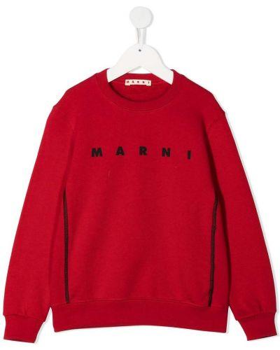 С рукавами красная хлопковая толстовка с вырезом Marni Kids