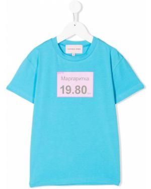 Хлопковая синяя футболка круглая с круглым вырезом Natasha Zinko Kids